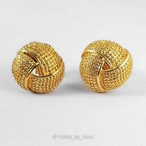 Vintage '80s Textured Gold Knot Clip-On Earrings